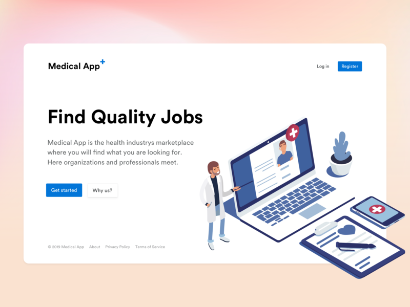 Medical App - Landing Page webdesign hero clean minimal web flat ui