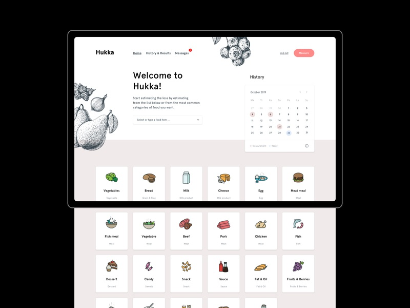 Hukka - Food Waste App dashboad app minimal flat web ui