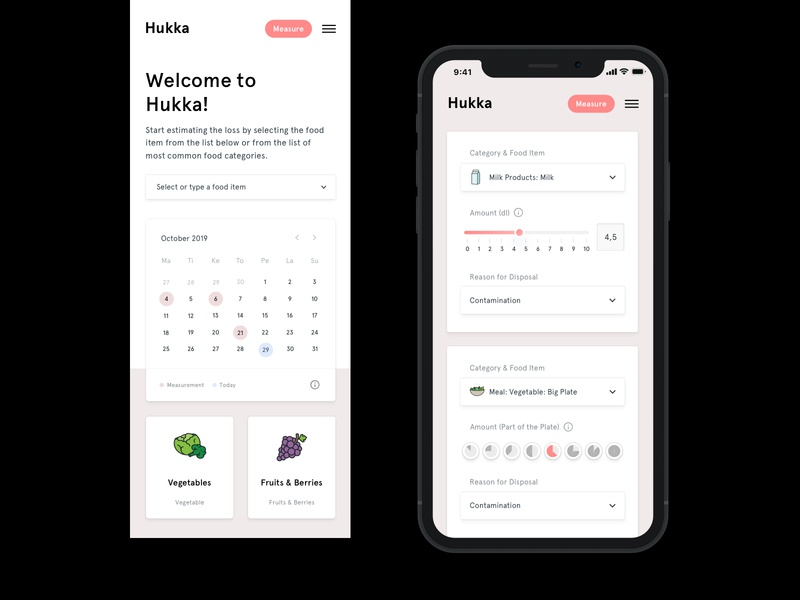 Hukka - Food Waste App Mobile Views dashboard clean minimal web flat ui