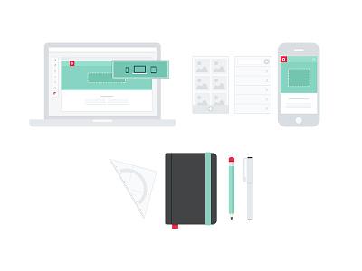 Oddshapes Services illustration flat wireframe branding pencil pen booklet protractor iphone macbook laptop web design
