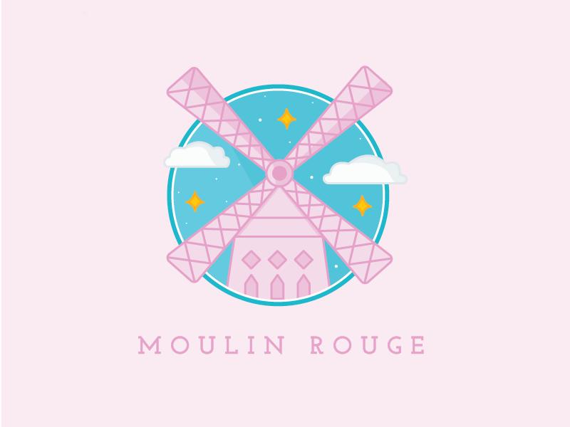 moulin rouge freebie illustration freebie paris windmill moulin rouge pastel city icon stars clouds illustrator vector