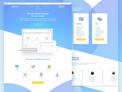 EasyEvent Landing Page web design gradient interface ui design website call to action cta product landing page