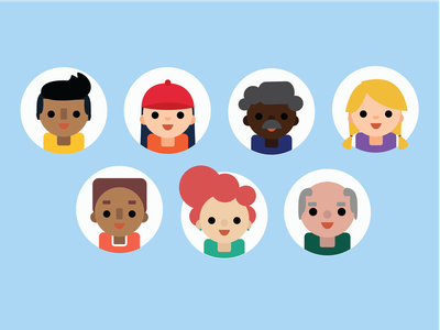 avatars freebie people young old diverse faces round sketch illustrator freebie icons avatar