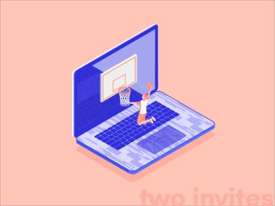 Two Invites! invite draft debuts perspective laptop basketball dribbble isometric illustration invites