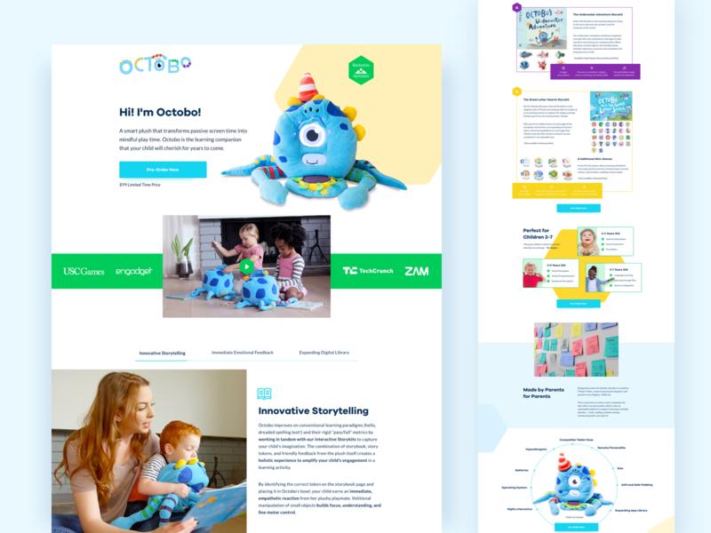 PlayOctobo Landing Page Refresh landing page design ui children website website design illustration animation