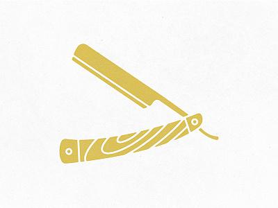 Straight Razor sharp barbershop barber illustration gold vector distressed icon straight razor razor