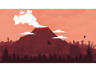 Volcano Flat Landscape vector scenery illustrator landscape flat