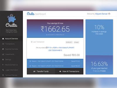 Chutta - Web User Interface web transactions saving money elephant hackathon app ux ui