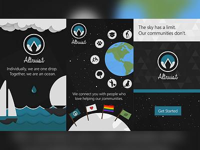 Altruist Landing Screens help community communities illustration landing app android