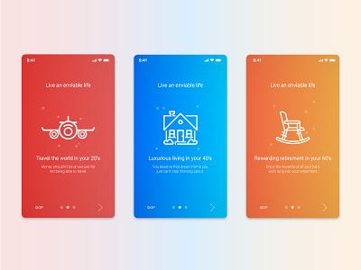 Mitraz App Onboarding gradients chair house plane ux app. finance onboarding