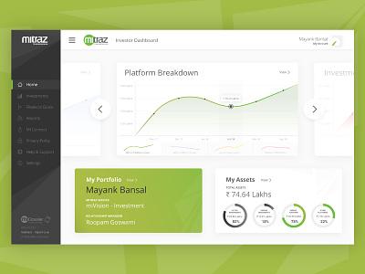 Investor Dashboard investment graphs portfolio ux ui dashboard