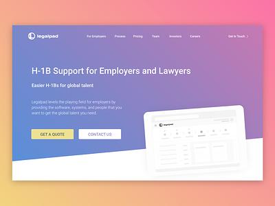 Legalpad Website Landing Refresh immigration design illustrator website landing re-brand