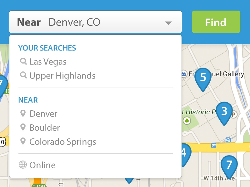 Find/Maps find maps search geo location merchants dropdown