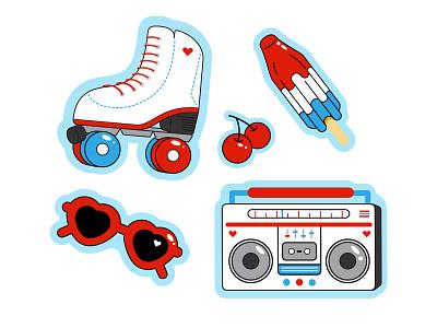 Summer Skater skater sunshine summertime funky sunglasses boombox cherries illustration vector popsicle roller skate