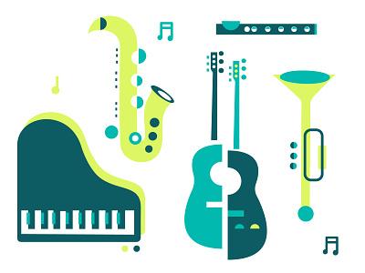 Live Jazz jazz pattern iconography vector illustrator sax trumpet piano guitar live
