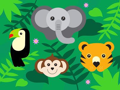 Wildlife Icons childrens illustration toucan monkey elephant illustration vector wild animals zoo wildlife