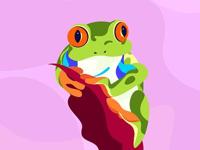 Tree Frog illustrator adventure animal colorful illustration zoo frog tree vector