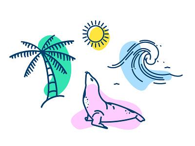 Goin' Coastal graphic design pattern outdoor sun coastal san diego sunshine palm tree waves seal icons illustration vector beach coast