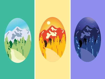 Mountain Color Study graphic design path trees colorful stickers mountains wild outdoors color illustration vector