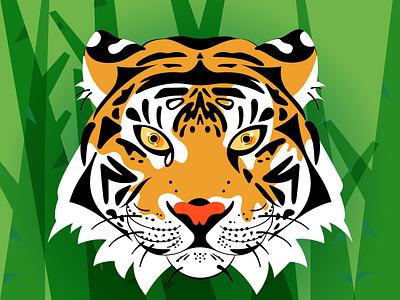 Tiger wild nature outdoors wildlife illustration vector illustrator endangered tiger bengal tiger