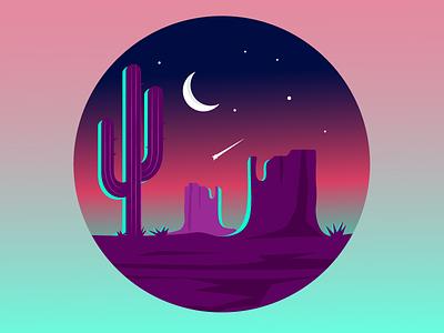 Moonrise landscape purple sunset gradient monument valley desert illustration vector