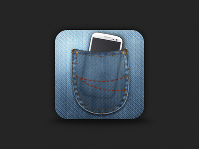 Pocket Phone Icon phone pocket jeans icon denim blue