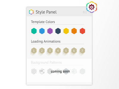 Style Panel for Phione Template - Free PSD freebie psd panel flat ui hexagon coming soon switch changer popup box change setting