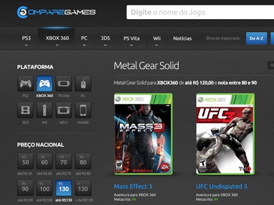 Search Result search result games interface ux design grafic xbox filter web