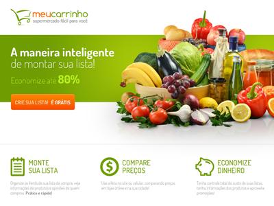 Landingpagemc landing page webdesign supermarket comparison shop ui ux green orange list groceries pig money