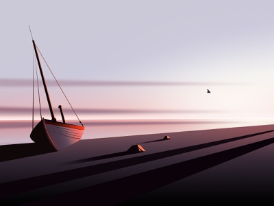 Seaside sky color light sunset boat sea illustration