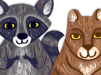 Finger Puppet Raccoon and Bear