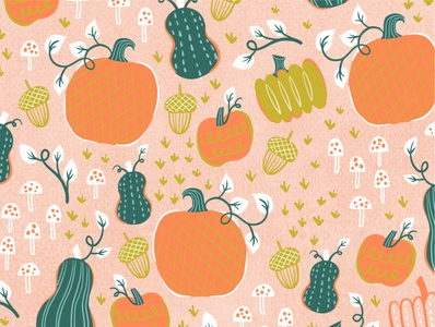 Pumpkin Pattern seasonal gourd fall art licensing surface pattern pattern print vector art digital art drawing food illustration artworks artwork illo illustration autumn pumpkin repeat pattern pattern design surface design pattern