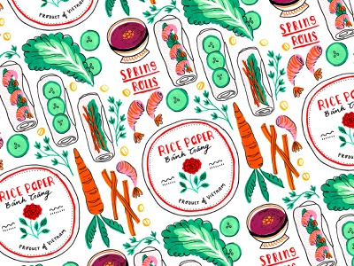 Vietnamese Spring Rolls painting gouache vietnamese illustration illustration pattern illustration art repeat pattern surface pattern pattern design food pattern spring rolls food illustration food art illustration