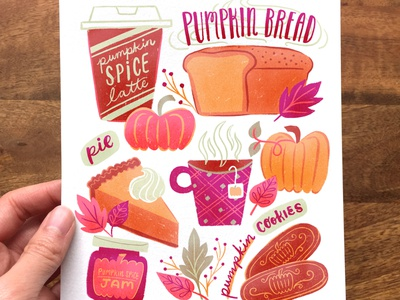 Pumpkin Spice Treats seasonal art food art food illustration pumpkin pie surface design wall art autumn vibes october pumpkin ipad procreate digital art digital painting drawing artwork fall colors illustration fall autumn pumpkin spice latte