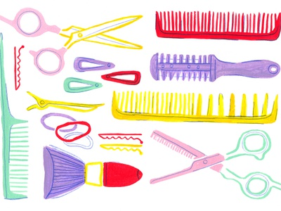 Hair Styling Tools surface design art drawing illustration design barbershop barber fashion painting hairbrush brush hairstyling hairdressing hair scissors artwork spot illustration illustration gouache