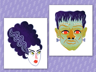 Spooky Classic Monsters spooky dribbbleweeklywarmup digital artwork portraits fangs horror classic horror creature from the black lagoon nosferatu vampire wolfman bride of frankenstein frankenstein classic monsters monsters digital art digital illustration illustration halloween