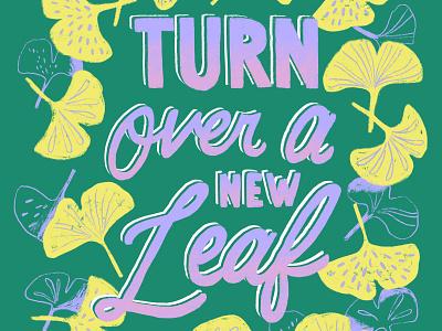 A New Leaf type procreate digital lettering floral art botanical art ginkgo leaves ginkgo typography lettering handlettering surface design illustration artwork art digital illustration digital art