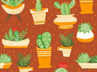 Succulent Garden Pattern digital pattern digital art procreate cactus illustration pattern art boho florals botanical art cactus cacti succulents surface pattern design repeat pattern surface pattern surface design pattern