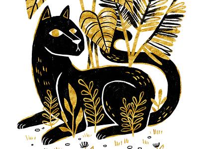 Black Panther in the Jungle art licensing boho black cat tiger lion animal black and gold procreate illo big cat cat panther illustration art artwork digital painting digital art digital illustration