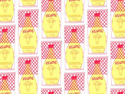 Kewpie Mayo Pattern kewpie japanese food food artist food art food illustration mayo artwork art painting art licensing surface design repeating pattern repeat pattern pattern gouache digital painting illustration