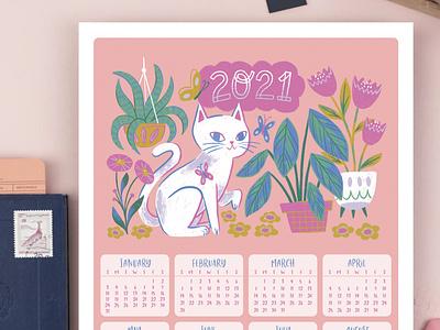 Cat Poster Calendar happy new year 2021 calendar cat surface design digital painting artwork art digital illustration digital art illustration