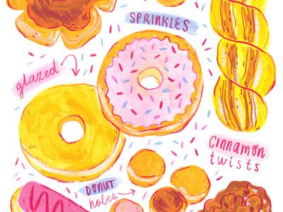 Donuts & Sprinkles illo watercolor food artist food illustration food art foodie donut gouache surface design drawing painting artwork art illustration