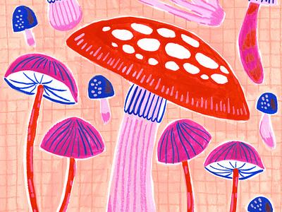 Pink Mushrooms mushrooms drawing watercolor pattern surface design gouache artwork art painting illustration