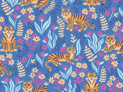 Deep Jungle digital art digital illustration illustration repeat pattern floral background floral design tiger vector art nature print design repeat print surface pattern pattern design pattern