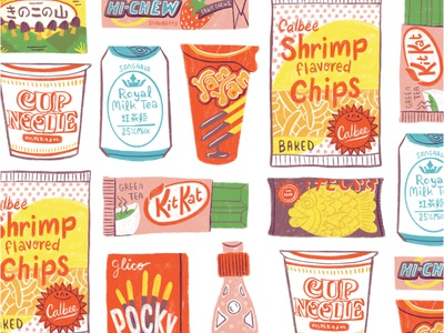Asian Snacks food illustration food art asian food digital artist asian snacks illo artwork digital illustration digital painting illustration digital art