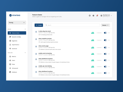 Feature Gates dashboard saas b2b feature figma ux design ui