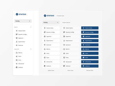 Left Nav for Statsig Console (Product) icon expand collapse dropdown saas b2b data navigation dashboard ux design ui