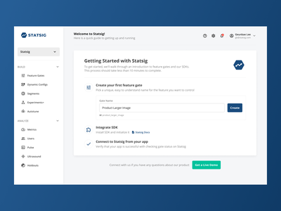 Getting Started with Statsig developer tool experiment saas b2b dashboard onboarding ux design ui