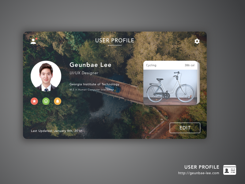 Daily UI Challenge #06 — User Profile sketch card ux design profile user challenge ui daily