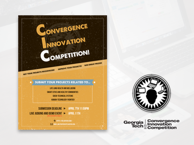 Convergence Innovation Competition (CIC) at Georgia Tech yellow brown cic flyer competition ux ui design poster